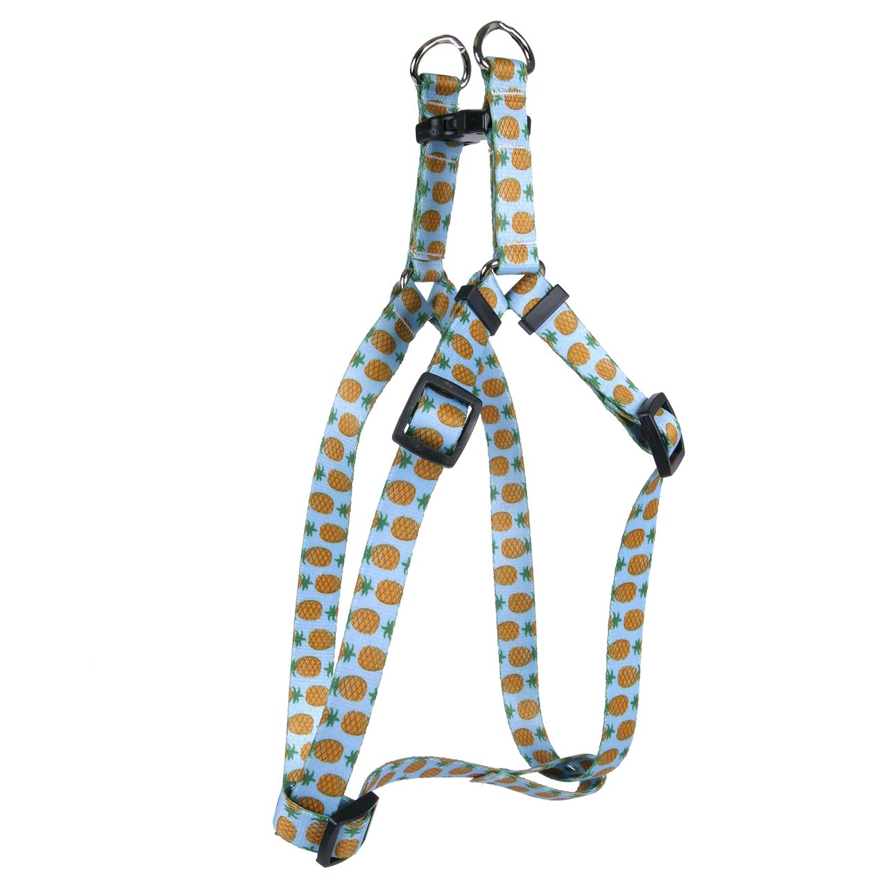 Yellow Dog Design Standard Step-In Harness, Pineapples on Blue, Small 9'' - 15''