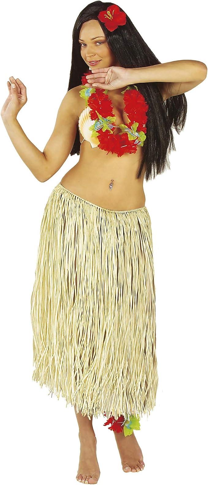 WIDMANN - Falda hawaiana - Realizada en rafia - Color paja: Amazon ...