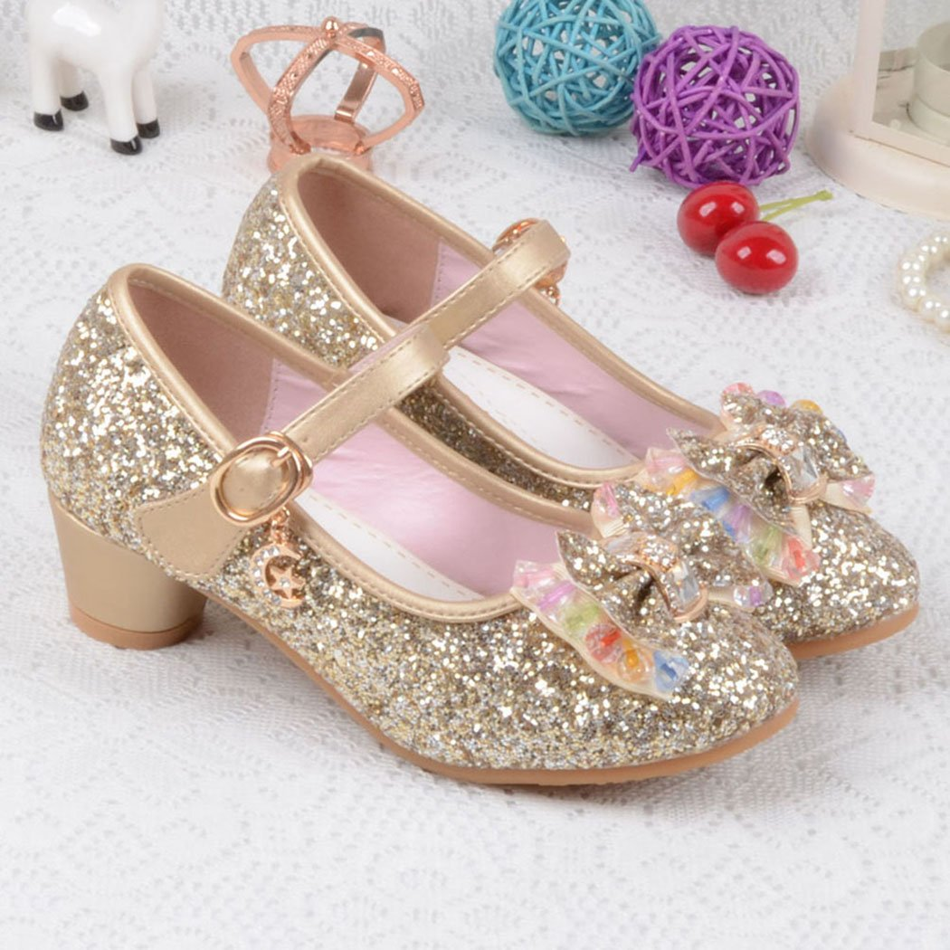 Raylans Girls Glitter Sandals Mary Jane Shoes Glitter Low Heels Princess Cosplay Dress Shoes Golden US 13.5M by Raylans (Image #5)