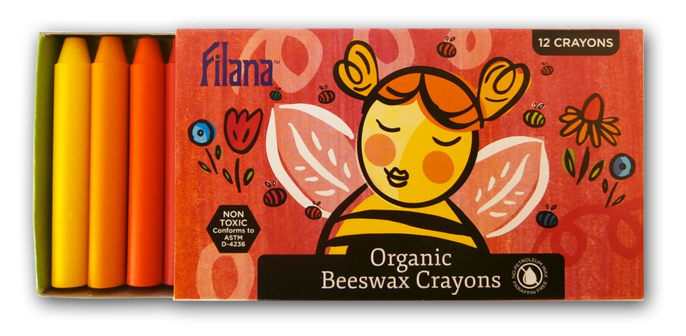 FIlana (12 Stick Crayons Pure Certified Organic Beeswax - Handmade in the USA - Rich Colors - No Cheap Paraffin Waxes - Good Earth. Good Bees