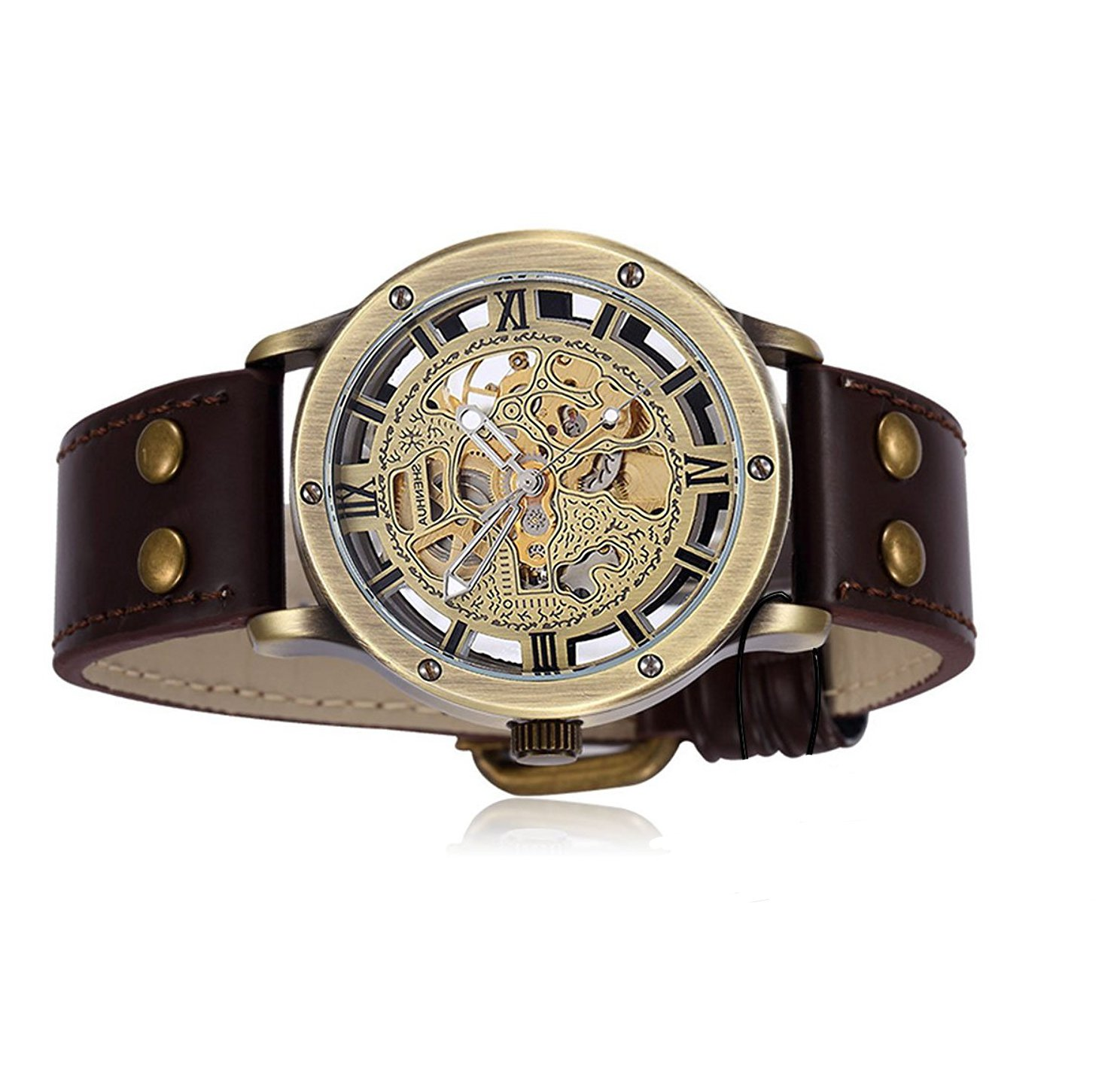 Carrie Hughes Men's Steampunk Skeleton Automatic Mechanical Alloy Stainless Steel Leather Watch CH86 5
