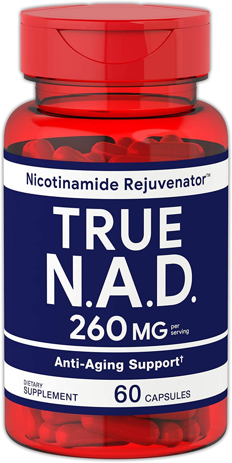 True NAD 260 mg 60 Capsules Nicotinamide Rejuvenator Anti Aging Support Non-GMO, Gluten Free Supplement