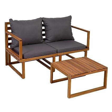 Balkon Sitzgruppe Set Gartenmöbel Balkon Holz Tisch und 2 Stühle Sitzgarnitur