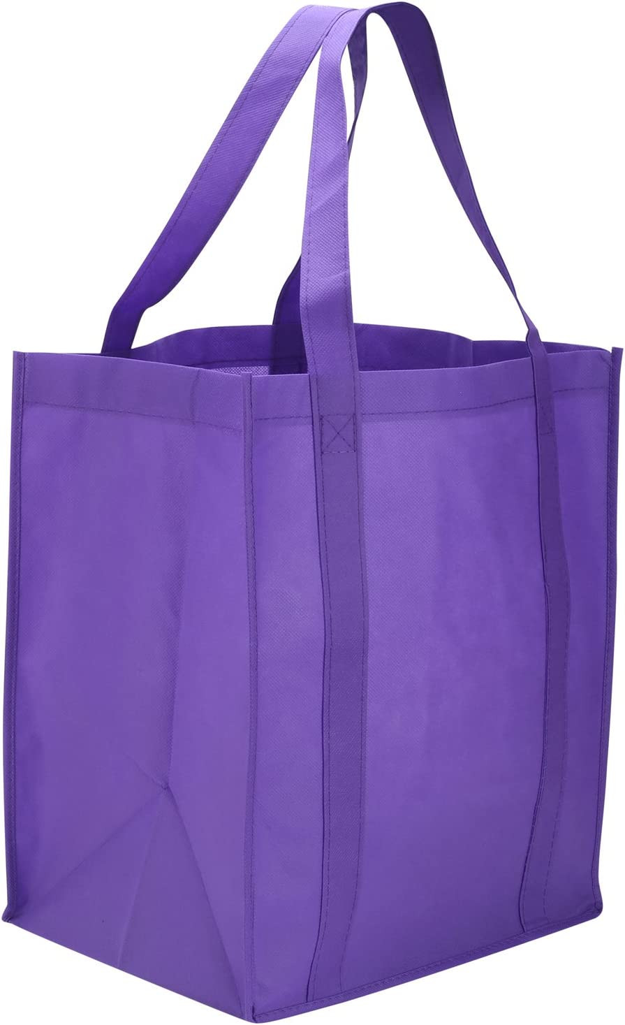 Reusable Reinforced Handle Grocery Tote Bag Large (10 Pack)Purple