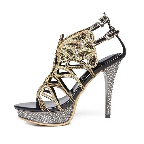 30fb353b0cc Zapatos de Mujer Primavera Verano Botas de Moda Sandalias Punta Abierta  Rhinestone Crystal Sparkling Glitter Hebilla