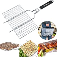 DOHOT Stainless Steel Removable BBQ Camping Non Stick Large Fish Grilling Basket with Handle (Wooden) - Cooking Surface of 13.8 x 8.7 x 0.8inches