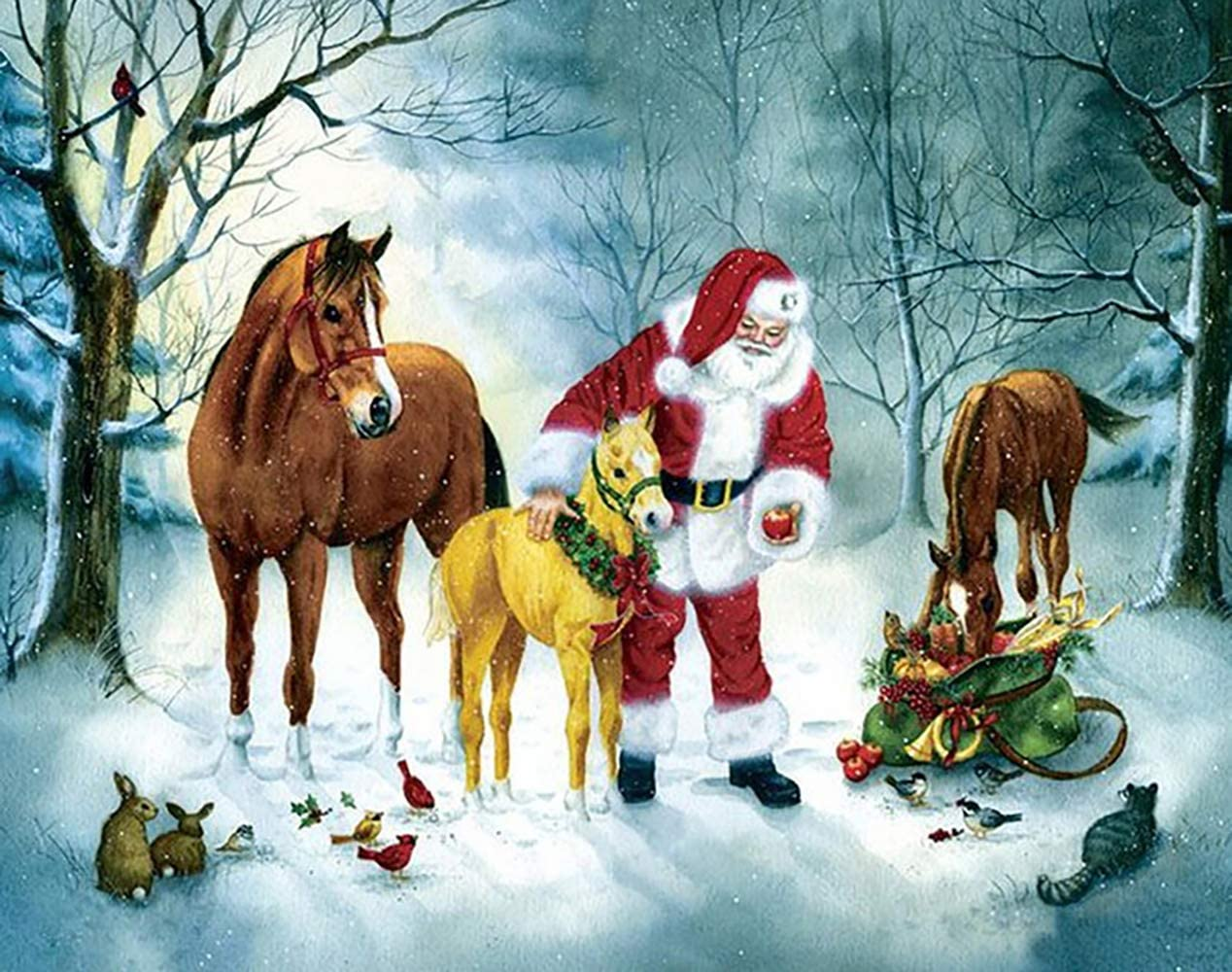 11.8X15.8 Full Drill Christmas Santa Feed Horse Squirrel Crystal Rhinestone Embroidery Pictures Arts Craft for Home Wall Decor Gift Holly LifePro DIY 5D Diamond Painting Kits for Adults