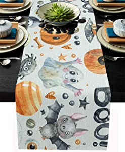 Greeeen Cotton Linen Table Runner 13 x 90 inch Halloween Cute Pumpkin Ghost Bat Kitchen Table Runners for Family Dinner, Banquet, Parties and Celebrations Funny Halloween Elements Table Decor