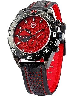 Shortfin Shark Fashion 6 Hands Black Leather Steel Case Army Sport Quartz Wrist Watch