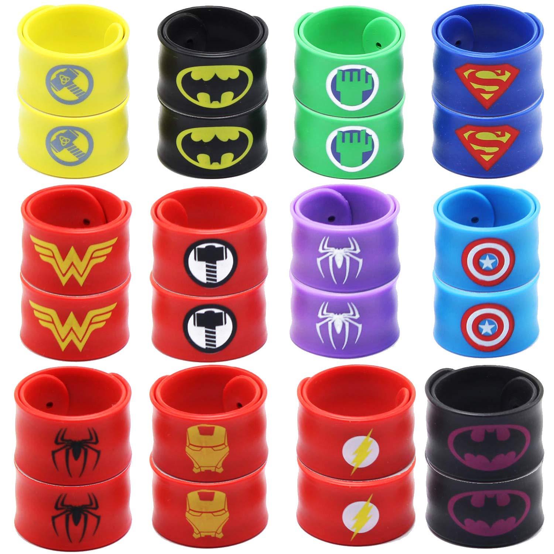 USA WOLF Superhero Slap Bracelet Boys Girls Birthday Party Favors and Party Supplies Superhero Slap Bracelet for Kids School Classroom Rewards Absolutely Favorite Novelty Toy 24 pcs