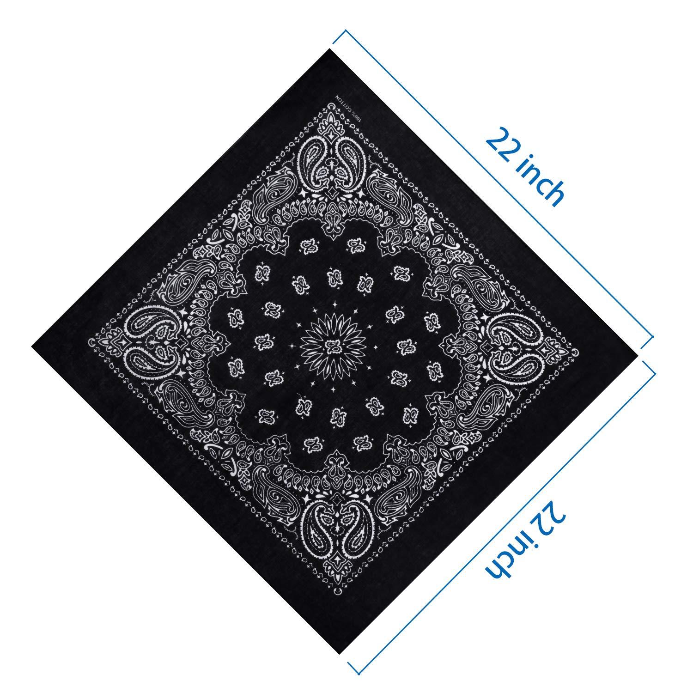 Boao 12 Pieces Novelty Gradient Bandana Classic Paisley Cotton Handkerchief