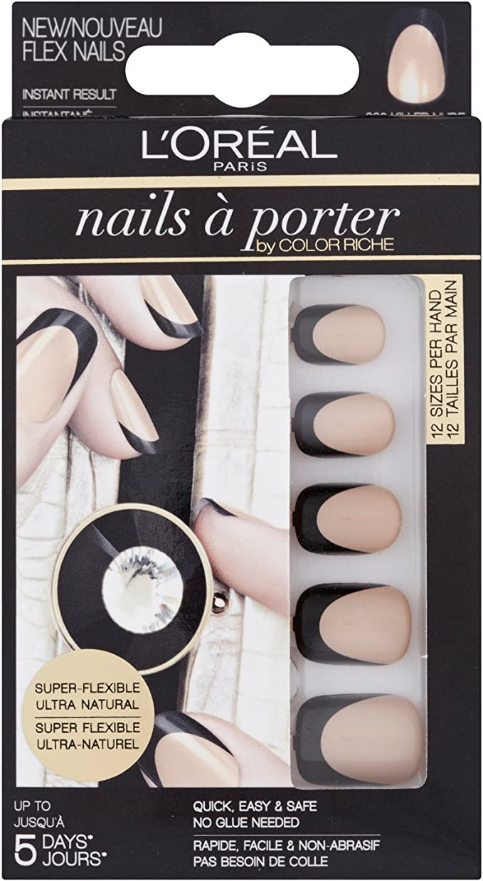 LOréal Paris Nails a Porter Flex 002 Killer Nude - estuches de extensiones de uñas (Killer Nude, Negro, Oro): Amazon.es: Belleza