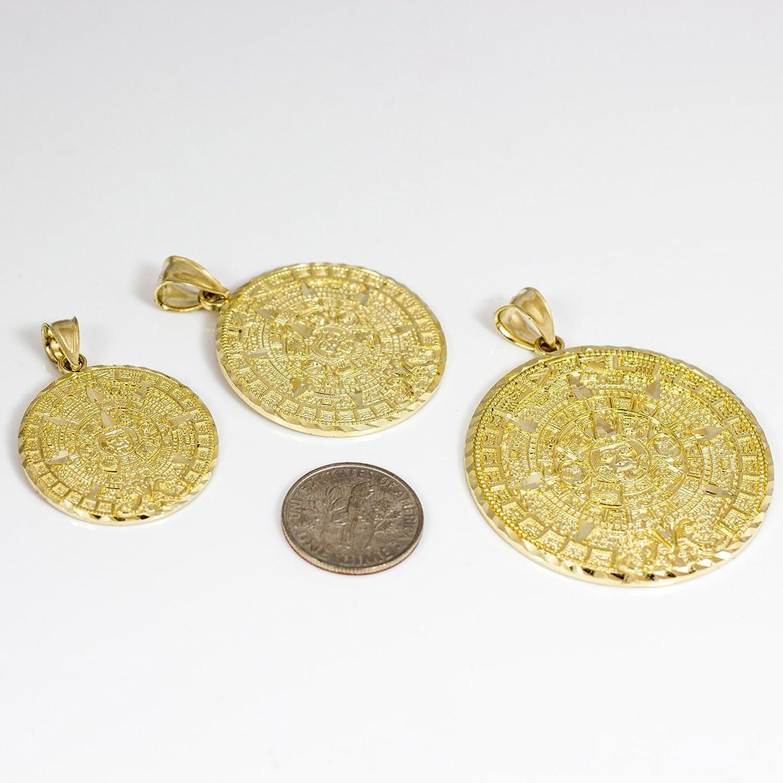 Amazon 14k yellow gold aztec charm mayan calendar pendant 254 amazon 14k yellow gold aztec charm mayan calendar pendant 254 millimeters mayan jewelry jewelry aloadofball Images