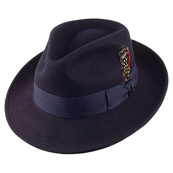 Gladwin Bond Navy Classic 100/% Wool Hand Made Felt Fedora Trilby Hat With Band