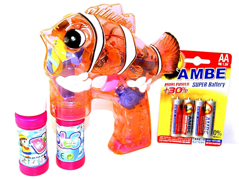 2x LED Fisch Fish Seifenblasenpistole Seifenblasenmaschine Seifenblasen Pistole