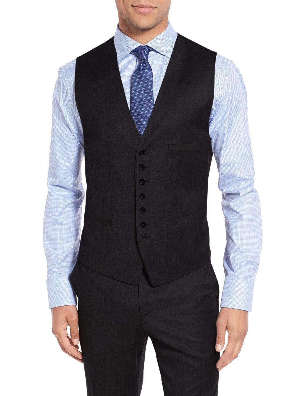 Salvatore Exte Men's 3-piece Suit Set Two Button Blazer Jacket Pants Tux Vest (40 Short US / 50S EU / W 34'', Black) by Salvatore Exte (Image #5)