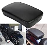 CICMOD Leather Pillion Pad w/ 6 Suction Cup Rear Passenger Seat For Harley Custom Bikes
