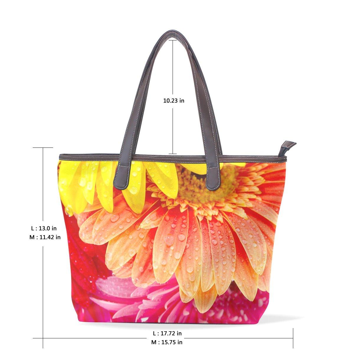 SCDS Watercolor Chrysanthemum PU Leather Lady Handbag Tote Bag Zipper Shoulder Bag