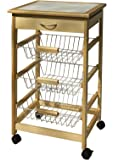 Organize It All Natural Pinewood Rolling Kitchen Cart with 3 Wire Baskets and Pull Out Drawer