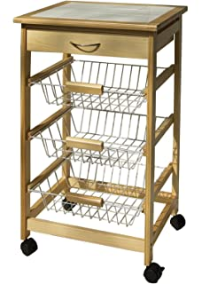 Wonderful Organize It All Natural Pinewood Rolling Kitchen Cart With 3 Wire Baskets  And Pull Out Drawer
