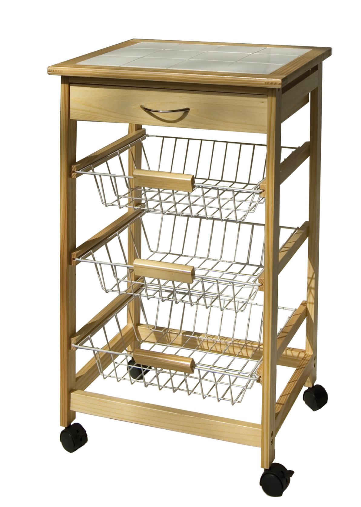 Organize It All Mobile Kitchen Utility Cart with Wire Drawers (Natural Pinewood) by Organize It All