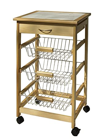 Beautiful Organize It All Natural Pinewood Rolling Kitchen Cart With 3 Wire Baskets  And Pull Out Drawer