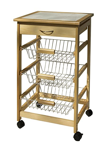natural mobile cart utility with pinewood com wire amazon all drawer kitchen organize drawers dp it