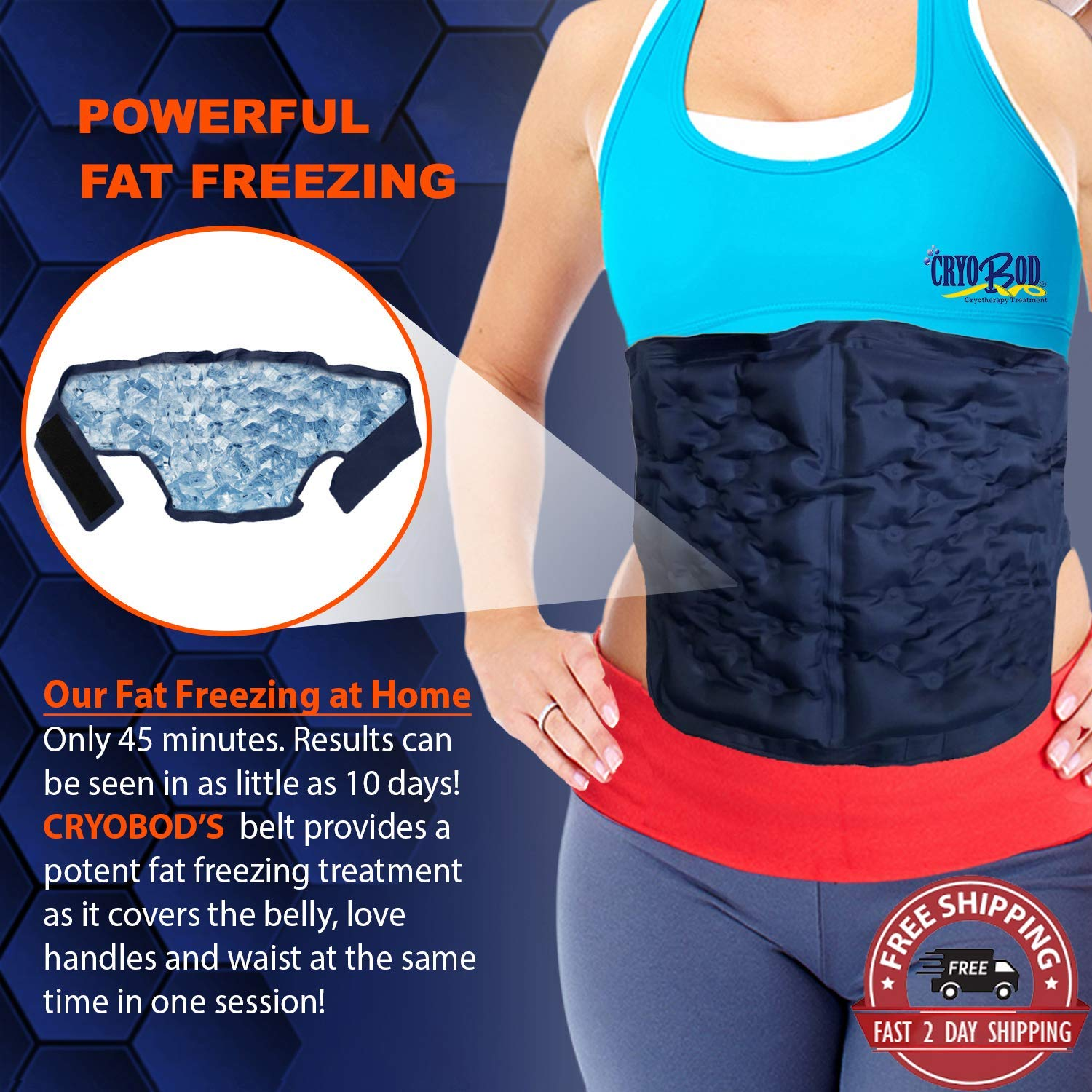 CRYOBOD Fat Freezer Belt - Cool Body Sculpting & Fat Freezing System for Weight Loss - Ultimate Freeze Wrap for Fat Burning - Comfy Skin-Safe Cold Sculpt Cryolipolysis for Waist & Belly Fat Reduction Fits 29 to 39 Inch Waist