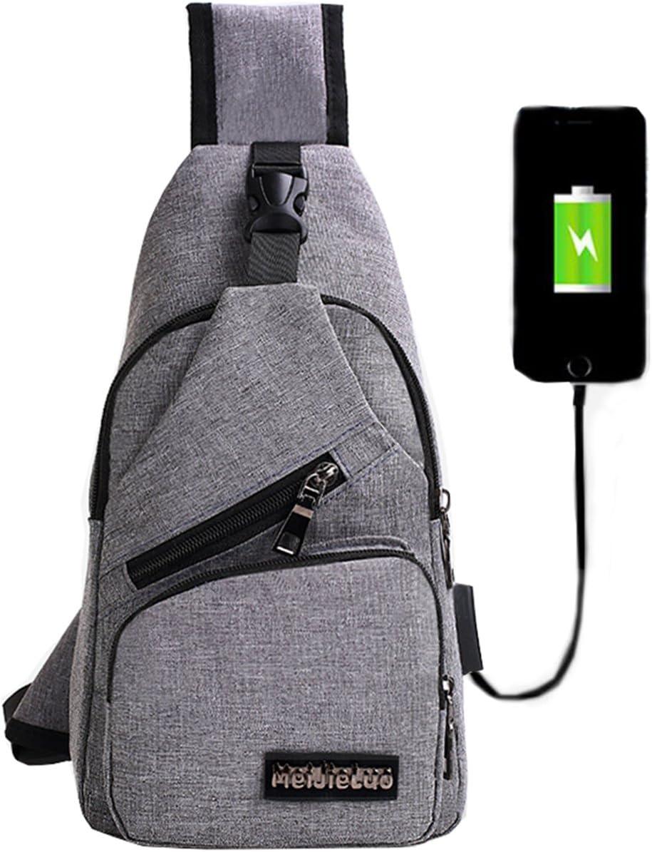 Mochila bandolera de pecho LemonGirl con cargador USB para hombres y mujeres, para senderismo, acampadas, ciclismo