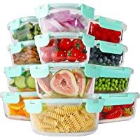 Bayco 24 Piece Glass Food Storage Containers with Lids, Glass Meal Prep Containers, Airtight Glass Lunch Bento Boxes…