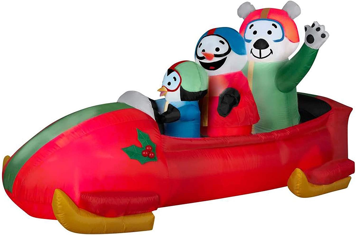 Amazon Com Gemmy Airblown Inflatable Animated Shaking Bobsled With A Penguin Snowman And Polar Bear Inside Indoor Outdoor Yard Decoration 7 Foot Long X 3 5 Foot Tall X 3 Foot Wide Home Kitchen