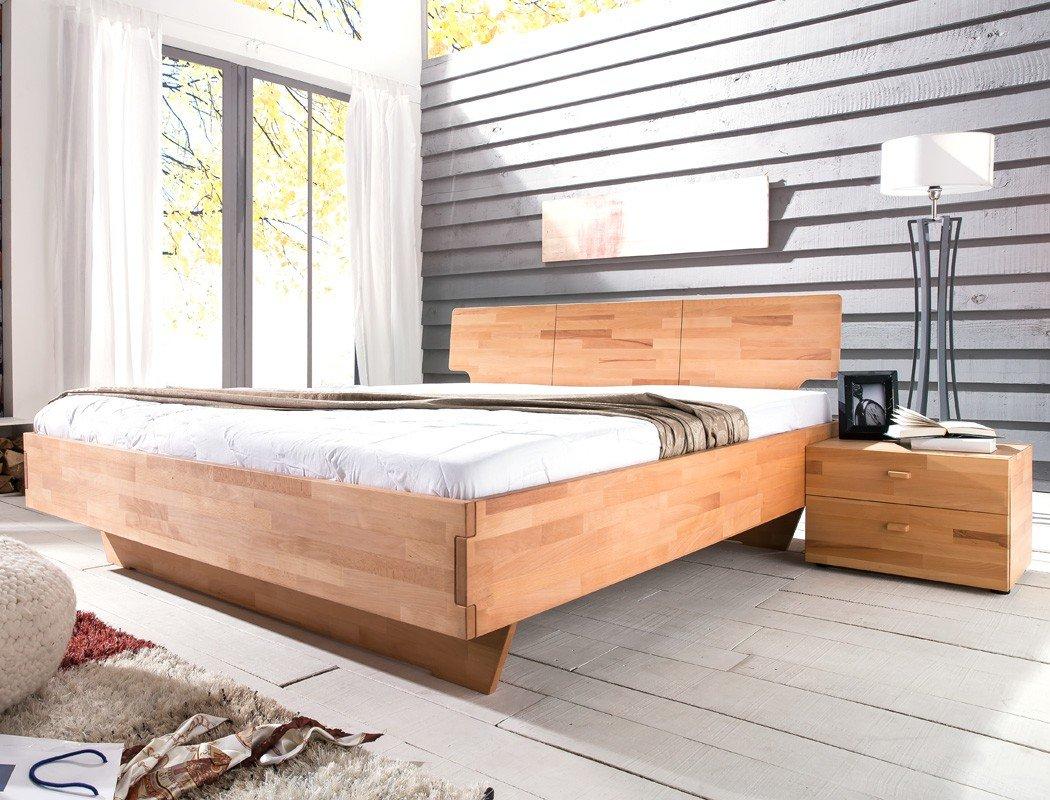 Bett cintio nachttisch kernbuche ge lt massivholz for Jugendzimmer mit doppelbett