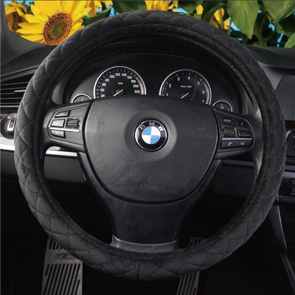 MLOVESIE Universal Car Steering Wheel Cover Plush Stretch-On Fits 15 inches