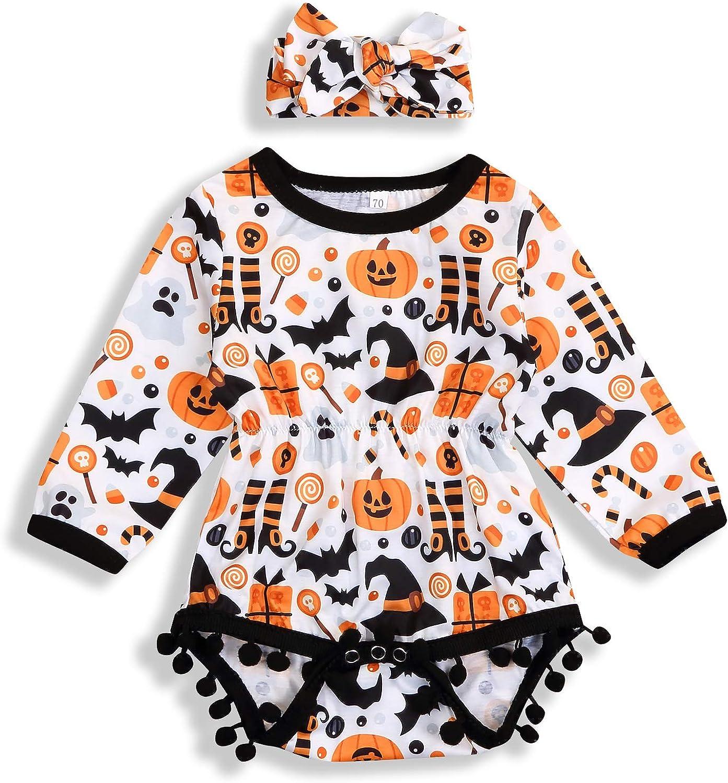 My 1st Halloween kaiCran Toddler Baby Boys Girls Long Sleeve Pumpkin Romper Pants 2PCs Outfit Clothes