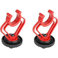 BOYA Dual Mount Brackets in Red & Black for by-MM1 Mini Cardioid Shotgun Microphone Mic (2 Pack) Replacement of by-MM1…