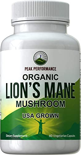 Organic Lions Mane Mushroom Capsules - USA Grown Vegan Organic Lion's Mane Nootropic Supplement for Memory, Focus, Brain Health, and Immune Support. Lion Mane Mushrooms Extract 60 Pills