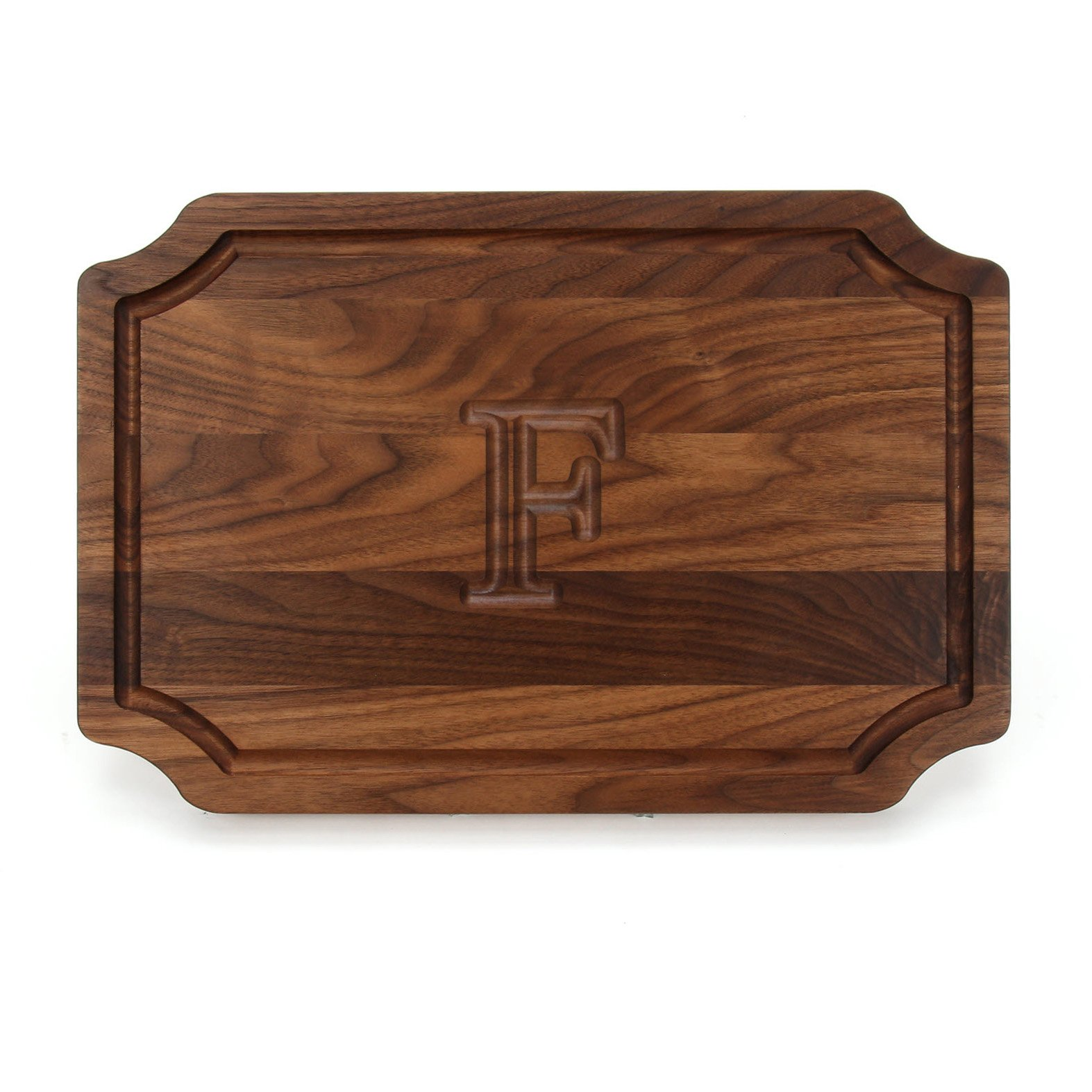 BigWood Boards W310-F Cutting Board, Personalized Cutting Board, Large Cheese Board, Walnut Wood Cutting Board and Serving Tray, ''F''