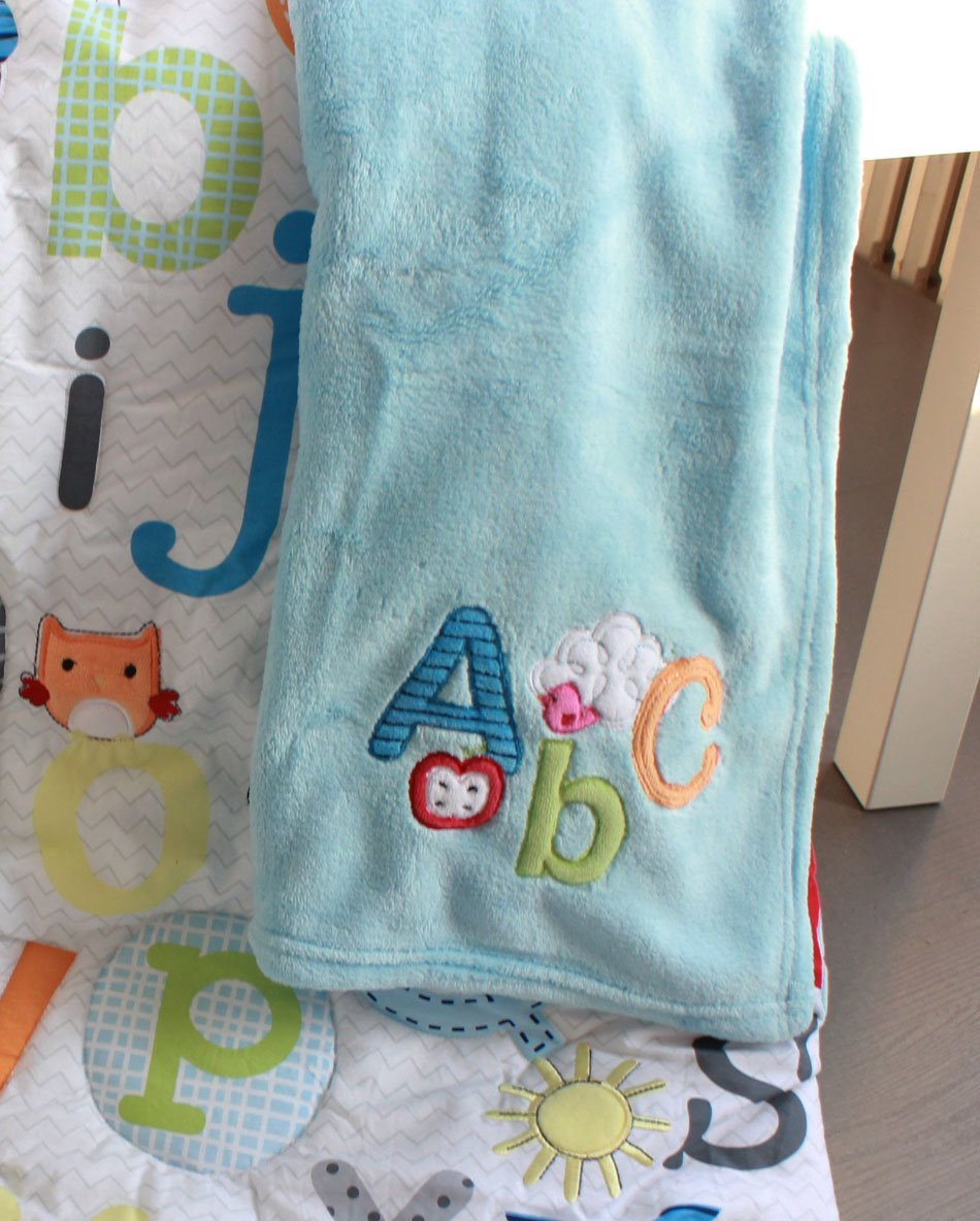 NAUGHTYBOSS Unisex Baby Bedding Set Cotton Early Education 3D Embroidery Letter Elephant Quilt Bumper Mattress Cover Blanket 8 Pieces Multicolor