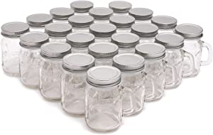 Juvale Clear Glass Mason Jars 4 oz with Silver Lids, 24 Pieces