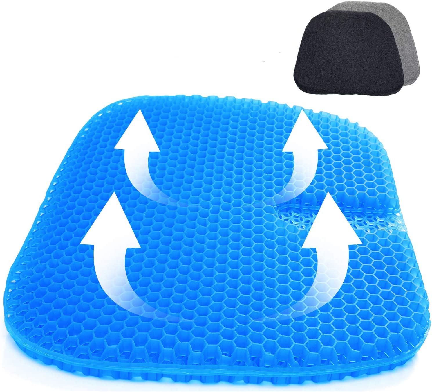 SUPTEMPO Gel Seat Cushion,Gel Office Chair Cushion,Seat Cushion with Non-Slip Cover Breathable Honeycomb Pain Relief Sitting Cushion for Office Chair Car Wheelchair (Blue)