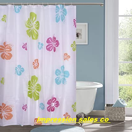 HISCIN Impression PVC Plastic Printed Leaf Bathroom Shower Curtain 6 feet with Hooks 180x180 cm (Multicolour)
