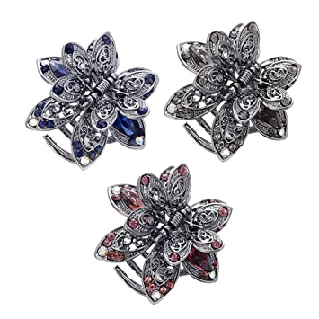 Vintage Metal Hair Claw Clip Crystal Anti Slip Butterfly Hair Clip Jaw Clamp