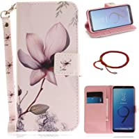 GOCDLJ Samsung Galaxy S9 PU Leather Flip Cover Cell Phone Case Wallet Stand Function with Lanyard Strap Magnetic Holder Cash Pocket Pouch Shell Design Magnolia Flower