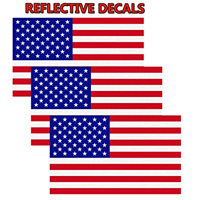 "CREATRILL Reflective Subdued American Flag Sticker 3"" X 5"" Tactical Military Flag USA Decal Great for JEE, Ford, Chevy or Hard Hat, Car Vinyl Window Bumper Decal Sticker (Full Color): Automotive"