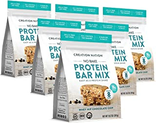 product image for KETO PROTEIN BAR MIX, No-bake & easy as a protein shake! Makes 24 PROTEIN BALLS / 8 BARS. Perfect Snack for Keto, Paleo Friendly, Gluten & Grain Free, Kids & Adults. (Whey Hip Chocolate Chip Cookie), 6-Pack