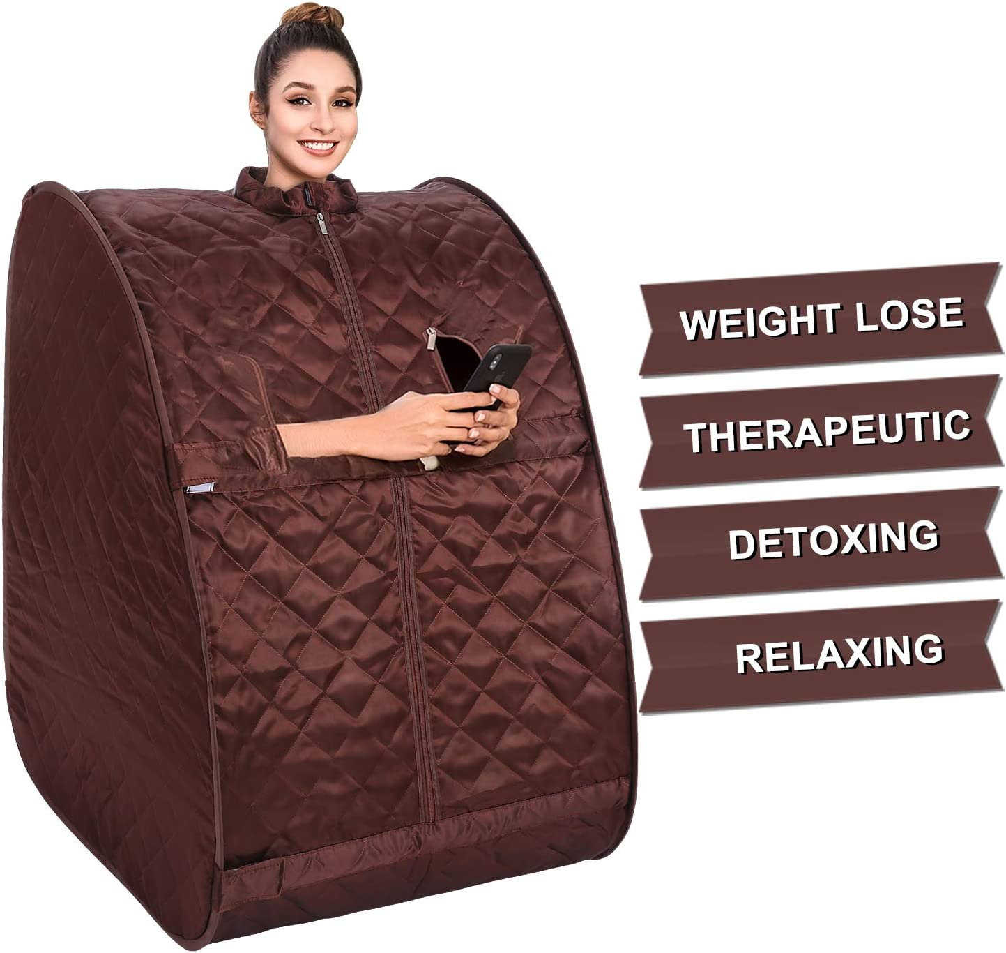 OppsDecor Portable Steam Sauna, 2L Personal Therapeutic Sauna Home Spa for Weight Loss Detox Relaxation Slimming,One Person Sauna with Remote Control,Foldable Chair,Timer US Plug Coffee
