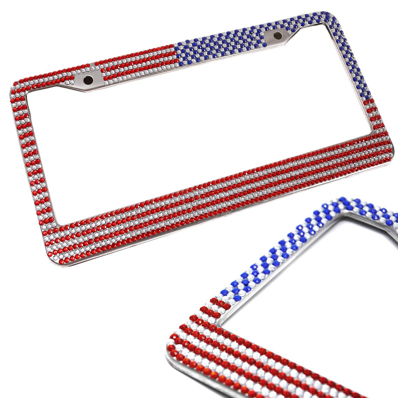 License Plate Frame Carbon Fiber NOT REAL CARBON FRAMES Black for Front /& Rear with Frame Fasteners and Screw Caps 2Pcs New 2 Hole Aluminum Plate Frame Carbon Fiber Style Slim Frame Cover