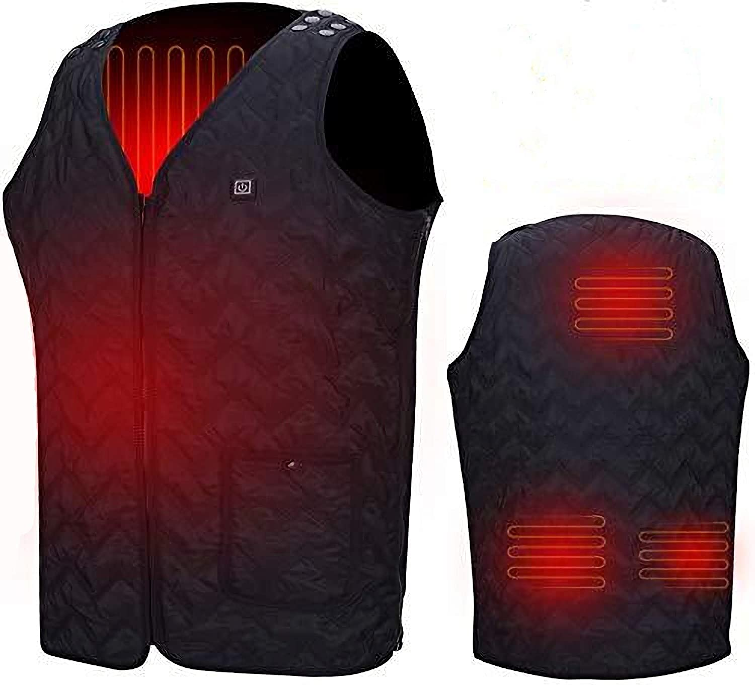 Unilove Heated Vest, Washable Size Adjustable USB Charging Heated Warm Vest for Outdoor Camping Hiking Golf Black
