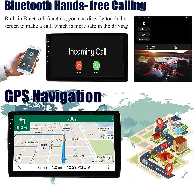 KKXXX S12T Android 8.1 Car Stereo GPS Navigation 2 DIN 10 Pulgadas Autoradio Am FM RDS 1GB RAM 16GB ROM Wi-Fi BT Llamadas Manos Libres Control del Volante Control Enlace Espejo Subwoofer