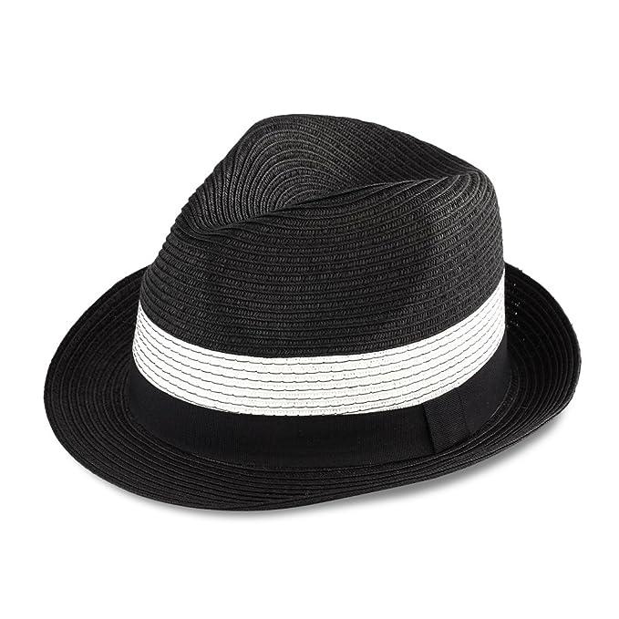 Men   Women s Summer Short Brim Straw Fedora Hat (black) at Amazon ... aad1e2a87953